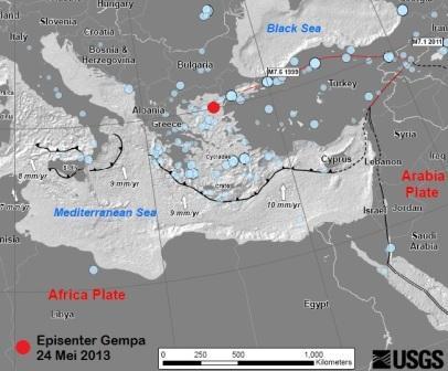 Episenter Gempa Bumi Yunani 2014