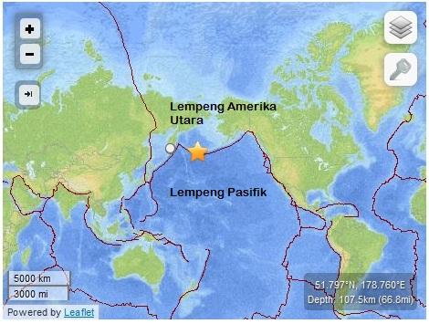 Episenter Gempa Bumi Alaska dan Lempeng-lempeng yang ada disana (Sumber: USGS, 2014)