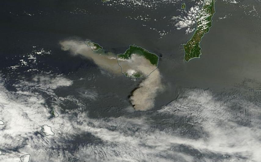 foto udara gunung api shindake