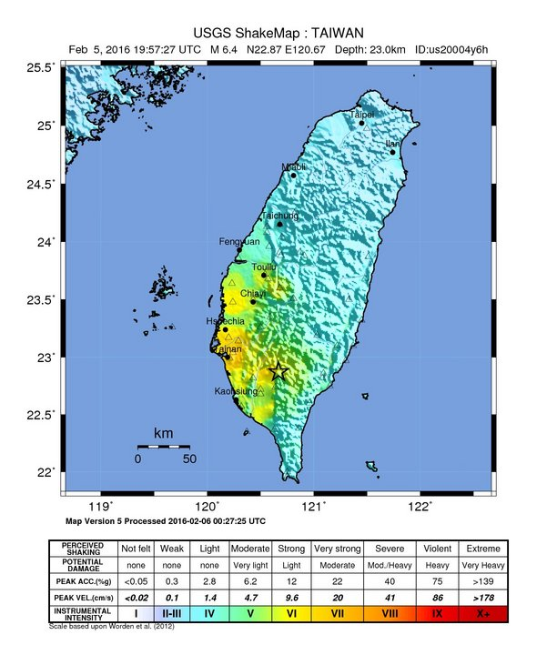 Peta goncangan tanah akibat gempa Taiwan 6 Februari 2016 (Sumber: USGS)