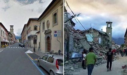 Photo Sebelum dan Sesudah Gempa Italia 2016