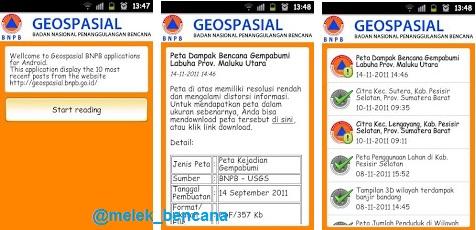 Tampilan Aplikasi Geospasial BNPB di Smartphone Android
