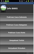 Tampilan awal aplikasi Info Gempa dan Cuaca