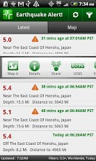 Tampilan aplikasi Earthquake Alert!