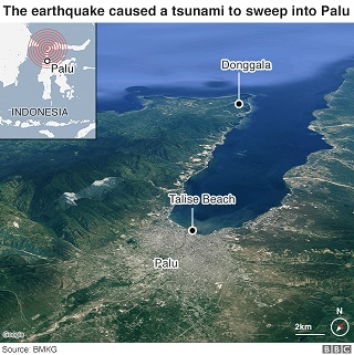Teluk Palu , Lokasi kota Palu dan Dongala