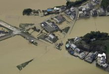 An aerial view shows flooded area due to heavy rains caused by Typhoon Malakas in Nobeoka, Miyazaki Prefecture, Japan